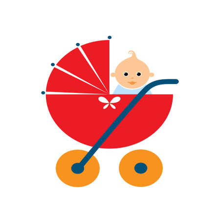 tot: Baby stroller with a doll on white background. Vector illustration Illustration