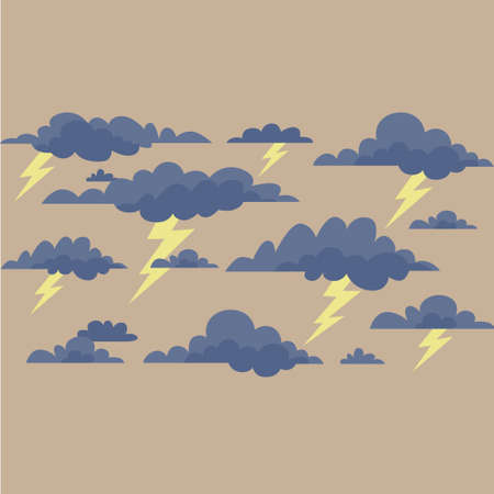 storm clouds: Storm clouds with lightning on a cream background. Vector illustration