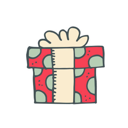 red gift box: Gift red box for Christmas. Vector illustration