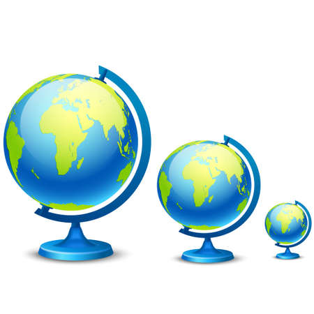 Three school globe on a white background. Vector illustration