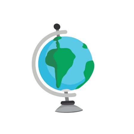 Small school globe on a white background. Vector illustration Illustration
