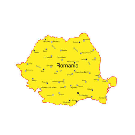Republic of Romania map on a white background. Vector illustration