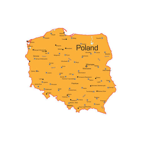 The Republic of Poland map on a white background. Vector illustration