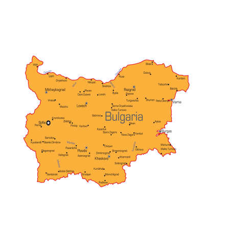 The Republic of Bulgaria map on a white background. Vector illustration