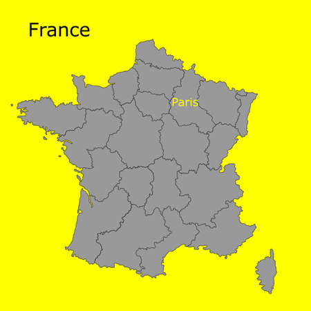 Contour map of France on a yellow background. Vector illustration