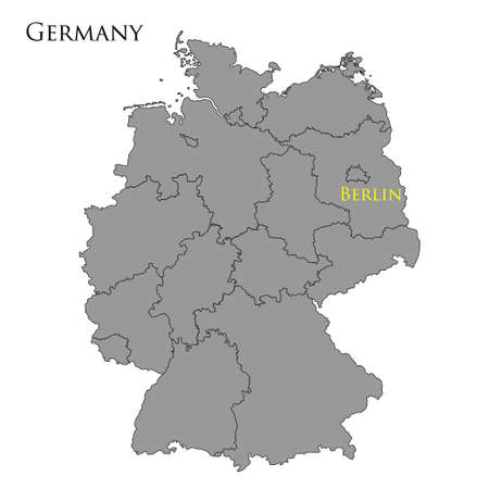 geographically: Contour map of Germany on white background. Vector illustration