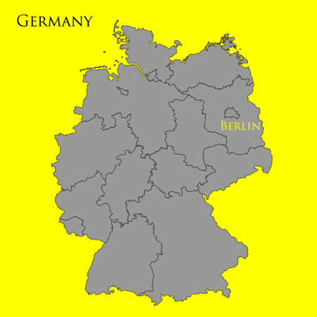 east berlin: Contour map of Germany on a yellow background. Vector illustration