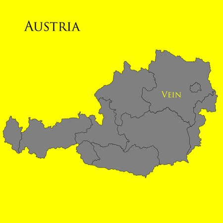 Contour map of Austria on a yellow background. Vector illustration