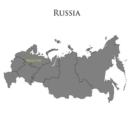 disposition: Contour map of Russia on a white background. Vector illustration Illustration