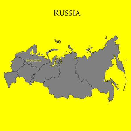 Contour map of Russia on a yellow background. Vector illustration Illustration