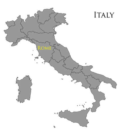 Contour map of Italy on white background. Vector illustration