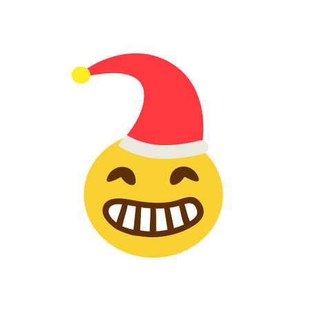 Angry smiley face with teeth in a cap on a white background. Vector illustration