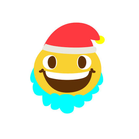 Good smiley face with a beard and wearing a hat on a white background. Vector illustration