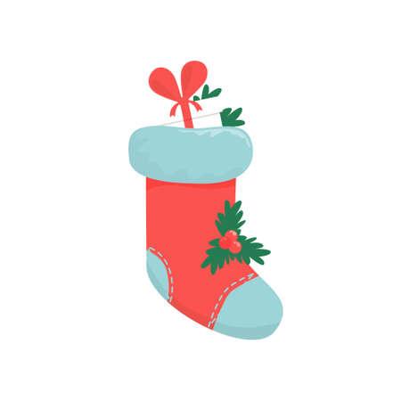 botas de navidad: Christmas boots on a white background. Vector illustration Vectores