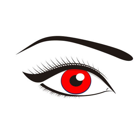 Beautiful red eyes on a white background. Vector illustration