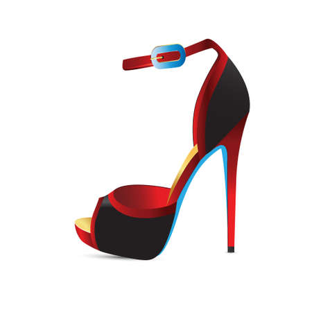 girlish: Red shoes with high heels. Vector illustration