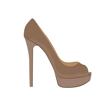 Fashionable brown shoes with high heels. Vector illustration