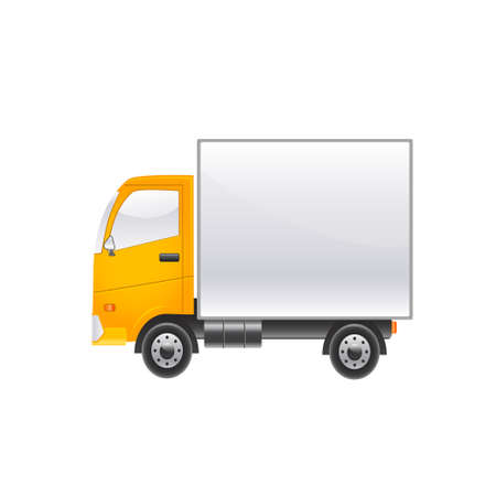 Bright truck on a white background. Vector illustration
