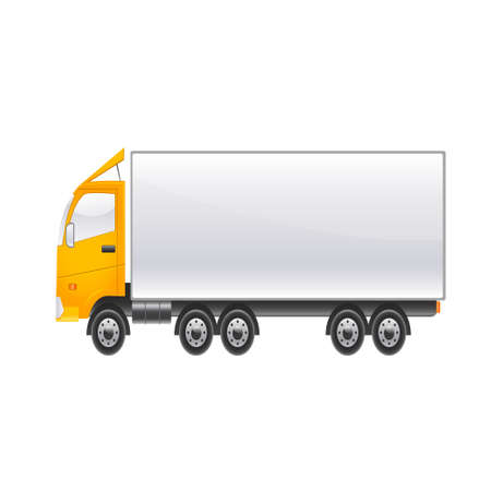 camion: Large cargo lighter car on a white background. Vector illustration