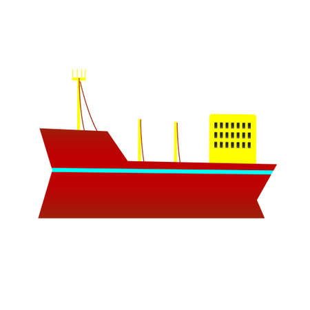 Big ship on a white background. Vector illustration