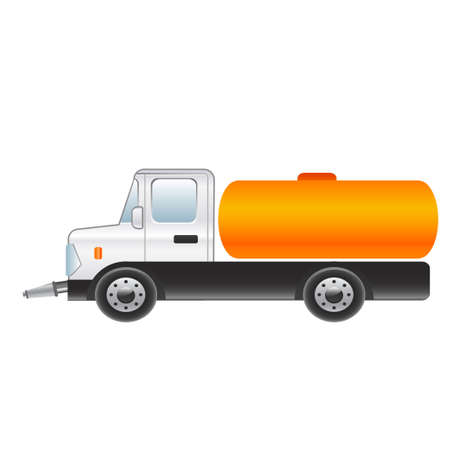 panel van: Truck for the watering of the road on a white background. Vector illustration