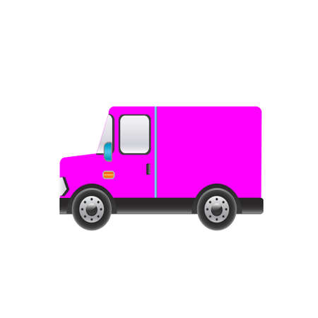 truckload: Beautiful pink truck on a white background. Vector illustration