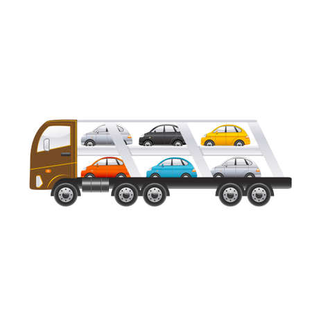 camion: Beautiful truck for transportation of cars on a white background. Vector illustration Illustration