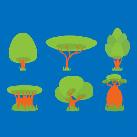Different green trees on a blue background. Vector illustration