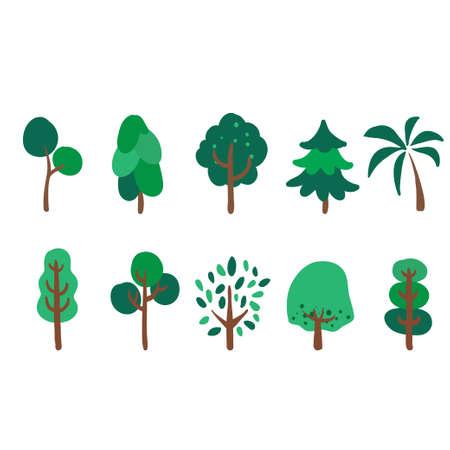 Grands et petits arbres sur fond blanc. Illustration vectorielle