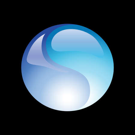 Water ball element icon on a black background. Vector illustration Illustration
