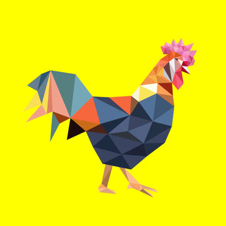 biggest animal: Colorful rooster on a yellow background. Vector illustration