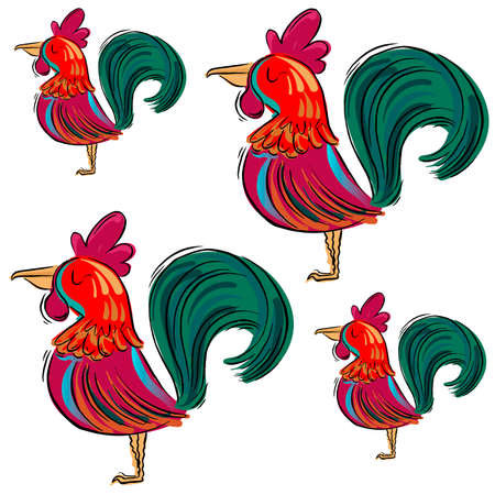 biggest animal: Drawn roosters on white background. Vector illustration Illustration