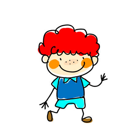 The boy with the red hair on a white background. Vector illustration