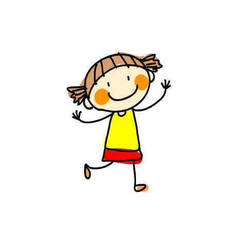 Girl in a red skirt on a white background. Vector illustration
