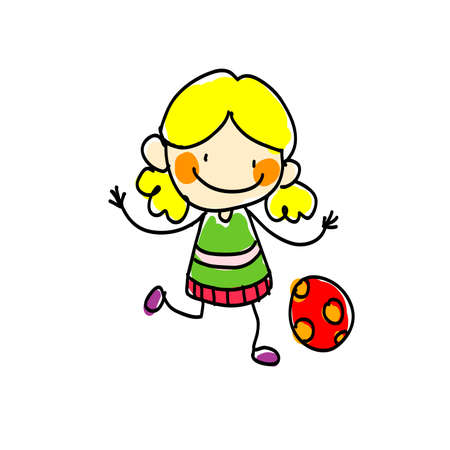 Girl with Red Ball on a white background. Vector illustration Illustration