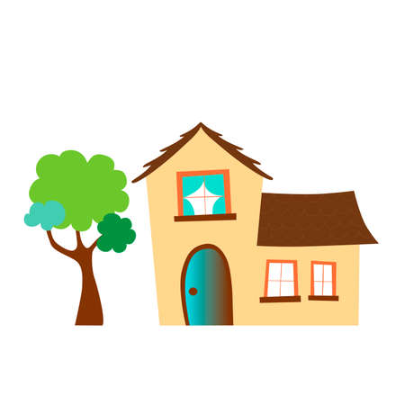 Beautiful house with a tree on a white background. Vector illustration