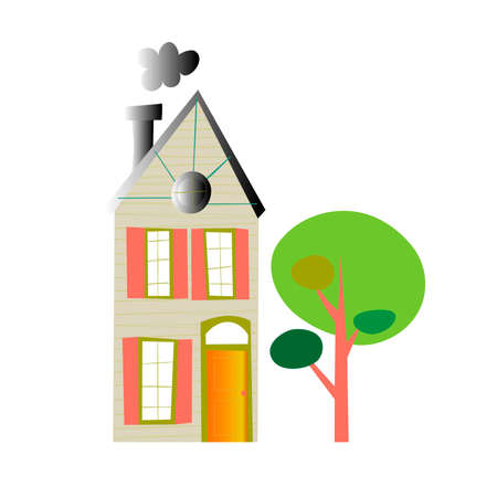 High house with a tree on a white background. Vector illustration