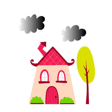 House with yellow tree on a white background. Vector illustration