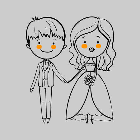 Wedding couple with a bouquet on the gray background. Vector illustration Illustration
