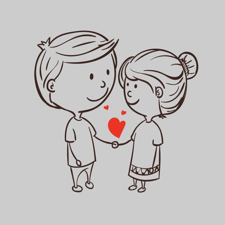 Romantic couple with a heart on a gray background. Vector illustration