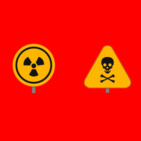 Two nuclear element on a red background. Vector illustration