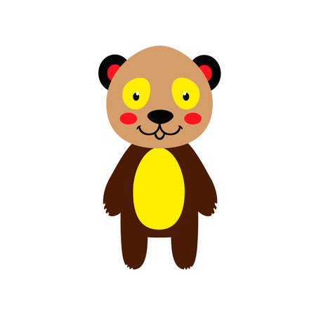 Cheerful colored panda bear on a white background. Vector illustration