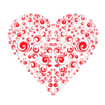 Patterned red heart on a white background. Vector illustration