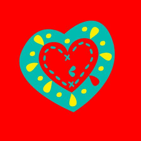 Patterned heart on a red background. Vector illustration Illustration