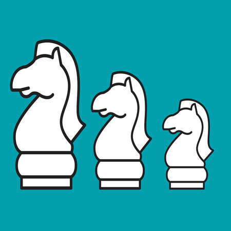 foal: Chess figure horse on a blue background. Vector illustration