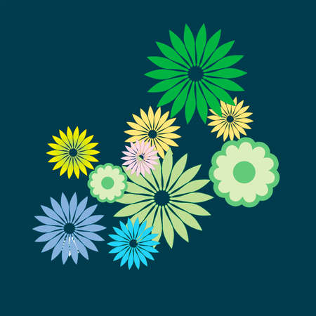 Colored flowers on a blue background. Vector illustration Illustration