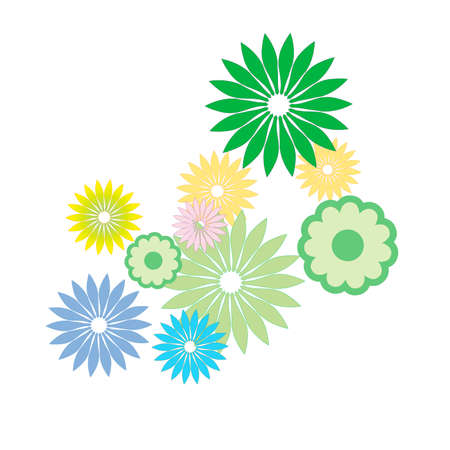 Colored flowers on a white background. Vector illustration Illustration