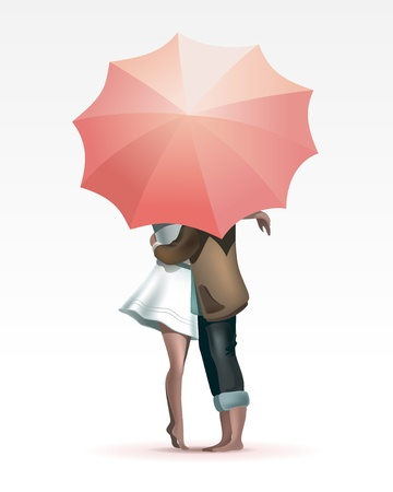 couple embrace: Lovers under Umbrella