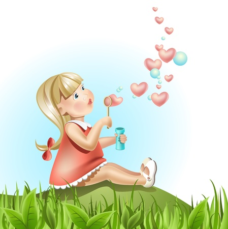 Beautiful Girl with Lovely Bubbles Vector