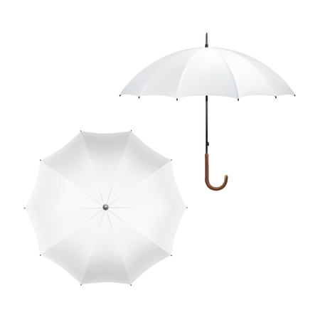 top angle view: Illustration of Blank White Umbrella Illustration